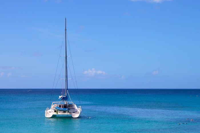 A catamaran on the Caribbean, off Barbados