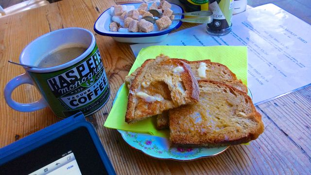 Toast and coffee for breakfast